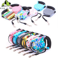 King-S Pet Retractable Leash 5 Meters Flexible Dog Puppy Cat Lead Leashes Sport Collars New Automatic Traction Rope Pet Products