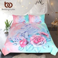 BeddingOutlet Unicorn and Rose Bedding Set Cartoon for Kids Duvet Cover Girly Single Bed Set Pink and Blue Floral Home Textiles