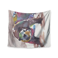 """Rebecca Bender """"Grizzly Bear Watercolor"""" Abstract Animal Wall Tapestry"""