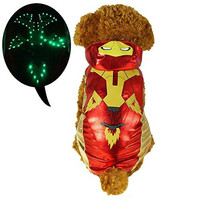 Pawow LED Light up Iron Man Pet Costume Puppy Dog Hoodie Clothes, X-small, Length 8-inch
