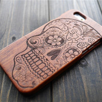 Rosewood Skull iPhone 6 6s Case Cover , Natural Wood iPhone 6 6s Protector Case , Wooden iPhone 6 6s Case Holder , Wedding Gift for Groom