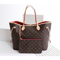 LV Louis Vuitton Hot Sale Classic Fully Printed Letters Color Block Two-piece Shopping Bag Shoulder Bag