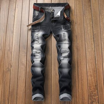 Men Men's Fashion Ripped Holes Stretch Black Slim Jeans [3444982120541]
