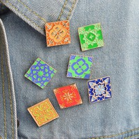 Multicolor Tile Brick Brooch Pins Enamel Lapel Pin Button Badge Denim jacket Shirt Bag Accessories Fashion Jewelry Gift for Kids