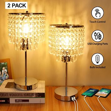 Crystal Touch Control Table Lamp, 3-Way Dimmable Bedside Lamps with Dual USB Charging Ports, K9 Crystal Shade Nightstand Bedside Desk Light for Bedrooms Living Room, E26 6W LED Bulb Included, Set of 2