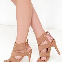 Flavor and Rhythm Camel Suede Lace-Back Heels