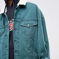 ASOS Oversized Denim Jacket in Bottle Green With Fleece Collar at asos.com