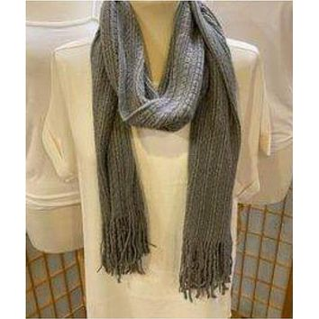 Long Gray Fringe Knitted Scarf