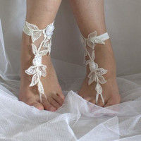 ivory lace barefoot sandals wedding barefoot , lace sandals Beach wedding barefoot sandals ,ivory lace barefoot sandals N-16A