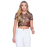 Fashion Women Embroidery Flower See Through T Shirt Sexy Black Mesh Women Tops Tees Summer Wear For Beach Party Pub j2