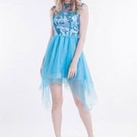 Beautifly Blue Gauze Irregular Hem Mini Prom Party Bridesmaid Dress