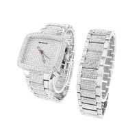 Mens Simulated Diamond Watch Free Matching Bracelet Iced Out Hip Hop Bling Jojo
