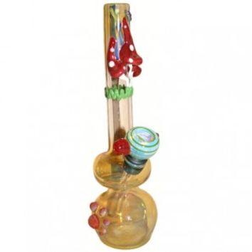 Glass Mini Bubbler - Gold Fumed with Color Artwork - Bongs and Waterpipes - Smoking Pipes - Grasscity.com