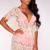 White Deep V-Neck Lace Cover Up Dress
