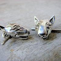 Bull terrier dog cuff links in silver and titanium