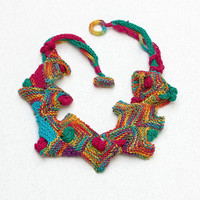 Rustic bib necklace, knitted geometric jewelry, colorful wearable art, OOAK