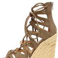 Steve Madden Theea Taupe Suede Leather Lace-Up Wedge Sandals