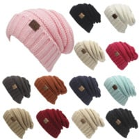 Winter Knitted Wool Cap Unisex Women Men Folds Casual CC Labeling Beanies Hat