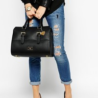Marc B Curved Structured Tote with Satchel Style Detail at asos.com