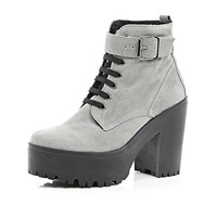 River Island Womens Grey suede lace up platform ankle boots