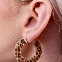 Linzie Leopard Resin Hoop Earrings