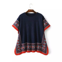 Blue Floral Pattern Knitted Short Sleeve Pullovers