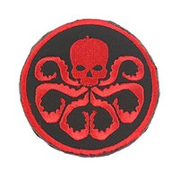 YPY 2pcs Hydra Logo Embroidered Patch Iron-on Fabric Cloth Skull Velcro Backpack Tactical Badge