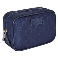 Gucci Navy Tide Blue GG Logo Toiletry Bag Travel Case 151034