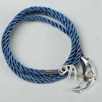 Handmade twisted rope woven braided handcrafted bracelet with charm Anchor