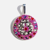 Christmas Wreath Necklace Pendant made with Crystal Clay, Metal Wreath, Variety of Colored Swarovski Crystals and  Finished with Micro Beads