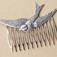 Silver Bird Hair Comb,Large Bird Stamping,Wedding Hair Comb,Wedding,Bridal Hair Comb,Nature,Whimsical,Feather