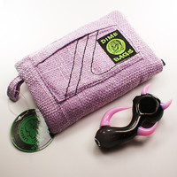 """Purple 8"""" Dime Bags Pouch and American Made """"Tag Lucifer"""" Hand Blown Spoon"""