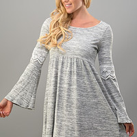 Bell Sleeve Lace Dress - Grey