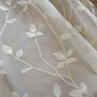 Korean White Embroidered Voile Curtains Linen Feeling White Sheer Curtains for Living Room Kitchen Bedroom Tulle Window Curtains