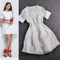 White Beaded Textured Cuff Sleeves Flounce Mini Dress