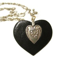 """Faux Leather Heart Necklace with Repurposed Vintage Metal Heart Stamping on Wrapped Loop Silver Chain Rustic Country Style for Cowgirl 33"""" Long"""