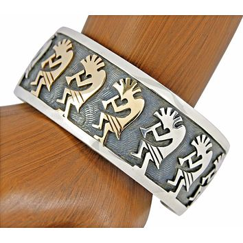 Rare Hopi Indian Steven Sokyma Museum Quality .925 Sterling Silver 14k Gold Cuff