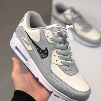 Nike Air Max 90 x Dior embroidered D letter big hook low-top sneakers shoes