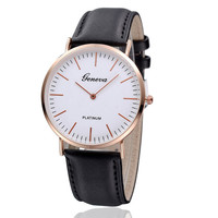 Geneva Black Leather Strap Watch with Gift Box