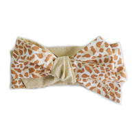 Leopard Print Bow for baby girl & toddler / Handmade headwrap, turban, headband, pony tail. Oversized cute hair accessory for your princess!