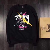 Stussy Hip Hop Hooded Woman Men Fashion Top Sweater Pullover