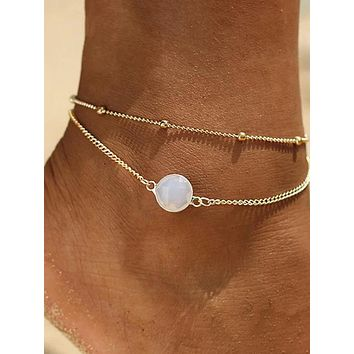 Women's Ankle Bracelet Layered Lucky Korean Fashion Cute Elegant Colorful Anklet Jewelry Gold / Silver For Daily