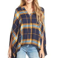 Junior Women's VolcomPlaid Button Front Poncho,