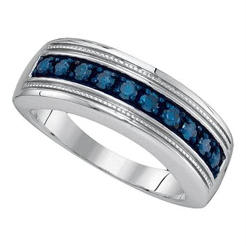 Sterling Silver Men's Round Blue Color Enhanced Diamond Wedding Anniversary Band 1/2 Cttw - FREE Shipping (US/CAN)