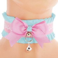 White satin turquoise kitten collar, ddlg, little princess, cute kawaii, pastel lolita, kawaii, kitten play collar, pet play collar,  EE1