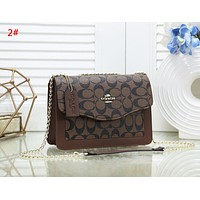 Coach New fashion pattern leather chain shoulder bag women 2#