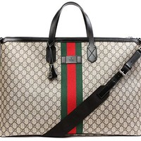Wiberlux Gucci Women's Logo Pattern With Stripe Accent Zip Top Tote Bag