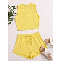 SHEIN Lettuce Edge Tank Top and Tie Front Shorts Set