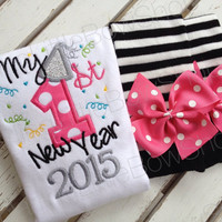 My First New Year 2016 outfit for baby girls with leg warmers and bodysuit -- hot pink and black with silver glitter
