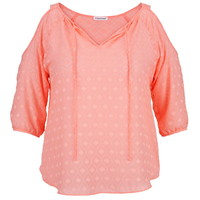 Plus Size - Cold Shoulder Embroidered Chiffon Blouse - Peach Melba